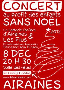 Affiche du concert de Noël 2012 avec la Batterie-Fanfare d'Airaines