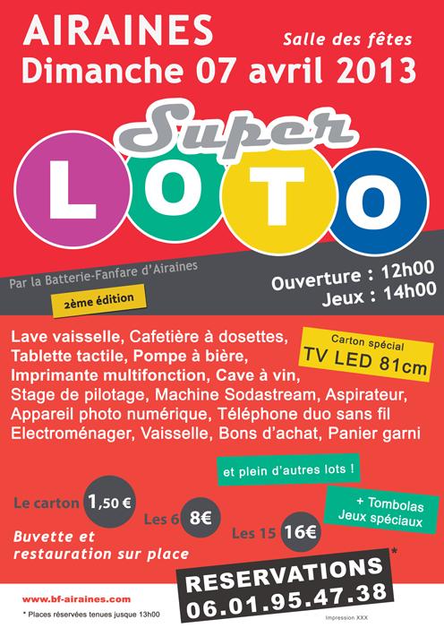 Affiche Super Loto 07/04/2013 à Airaines